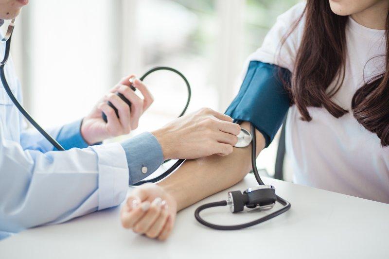 dentist measuring blood pressure during checkup